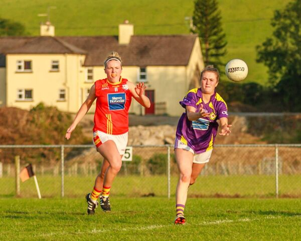 Éire Óg's Laura Cleary in pursuit of West Cork's Eve Murphy in the Cork senior championship. Picture: Anne Marie Cronin