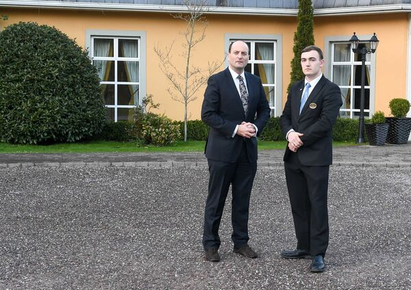 Proprietor Michael Magner and his son Eric, before closing the Vienna Woods Hotel in Glanmire, Cork, until further notice. Picture: David Keane.