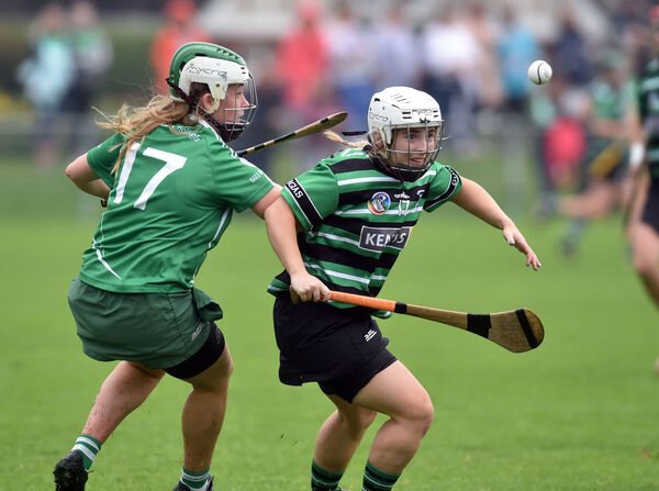Douglas' Aisling Walsh and Ballincollig's Ciara Healy racing onto the sliotar. Picture: Eddie O'Hare
