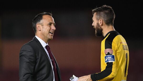 Then Longford Town manager Neale Fenn with Mark McNulty of Cork City after an FAI Cup game. Picture: Stephen McCarthy/Sportsfile