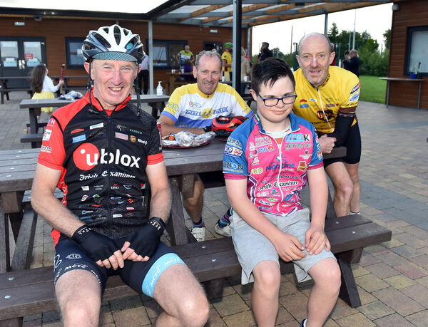 Cyclists Patsy Cashman, Billy Barry, Mike Forde meet Adam O'Keeffe taking part in the 20th Tour De Munster charity cycle race in aid of Down Syndrome starting on August 6th after a training spin when they visited Field of Dreams facility at Down Syndrome Cork. Picture: Eddie O'Hare