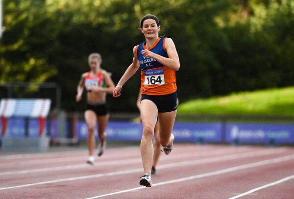 Grainne Moynihan of West Muskerry AC, Cork, on her way to finishing second in the Women's 400m during Day Two of the Irish Life Health National Senior and U23 Athletics Championships at Morton Stadium in Santry, Dublin. Photo by Sam Barnes/Sportsfile *