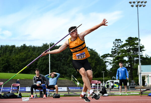 Cathal Scanlon of Leevale AC, Cork, competing in the Men's Javelin during Day Two of the Irish Life Health National Senior and U23 Athletics Championships at Morton Stadium in Santry, Dublin. Photo by Sam Barnes/Sportsfile
