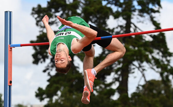 David Cussen of Old Abbey AC, Cork, on his way to winning the Men's High Jump with a personal best of 2.17m during Day Two of the Irish Life Health National Senior and U23 Athletics Championships at Morton Stadium in Santry, Dublin. Photo by Sam Barnes/Sportsfile
