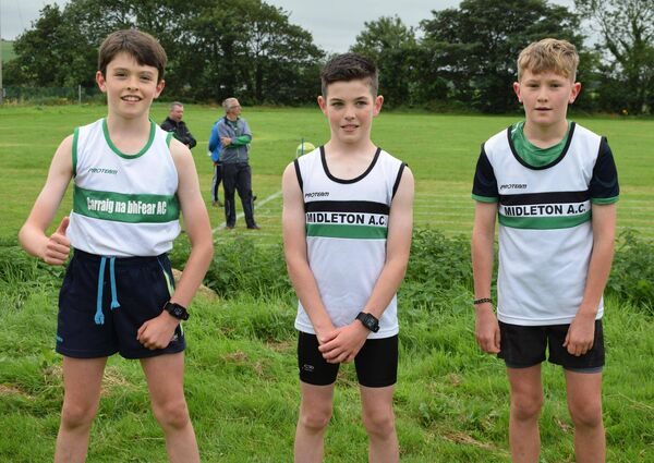 First three in the boys U12 600m at the East Cork championships: Cian Ryan (Carraig na bhFear), first; Matthew Mahony (Midleton), second; Oscar Smiddy (Midleton), third. Picture: John Walshe