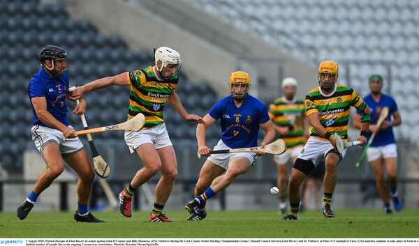 Patrick Horgan of Glen Rovers in action against Glen O'Connor and Billy Hennessy of St Finbarr's. Picture: Brendan Moran/Sportsfile