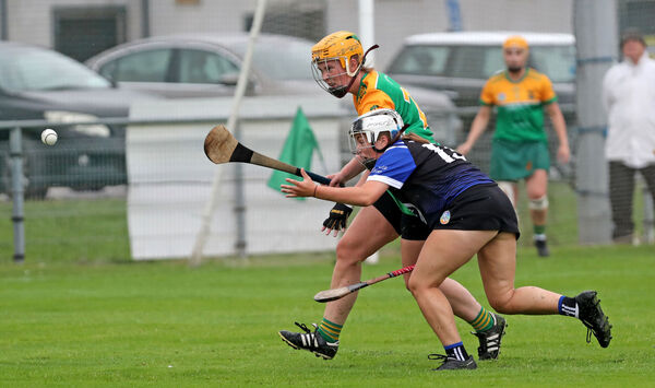 Saoirse Desmond, Sarsfields, Niamh O'Leary, Cloughduv.Cork Camogie Senior Club Championship, Sarsfields V's Cloughduv, at Castle Road, Cork.Picture: Jim Coughlan.