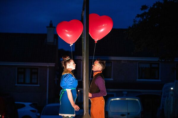 Éadaoin O'Donoghue and Cormac Mohally performing a scene from Contact, the new production by Corcadorca in Park View, Parklands