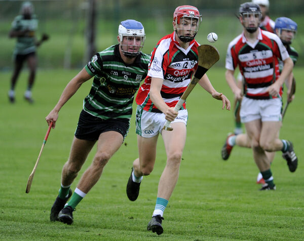 Ballincollig forward Cian O'Driscoll controls the sliotar in the P1 MHC clash. Picture: Gavin Browne