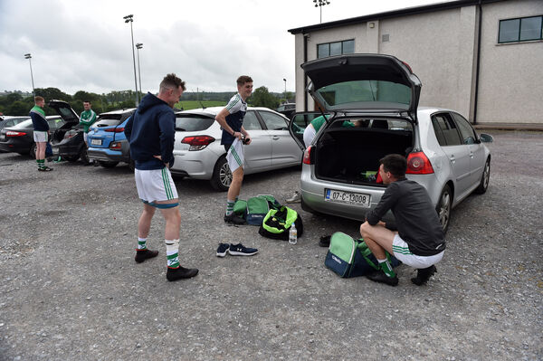 Valley Rovers' players getting ready in the car park at Cloughhuv. Picture: Eddie O'Hare