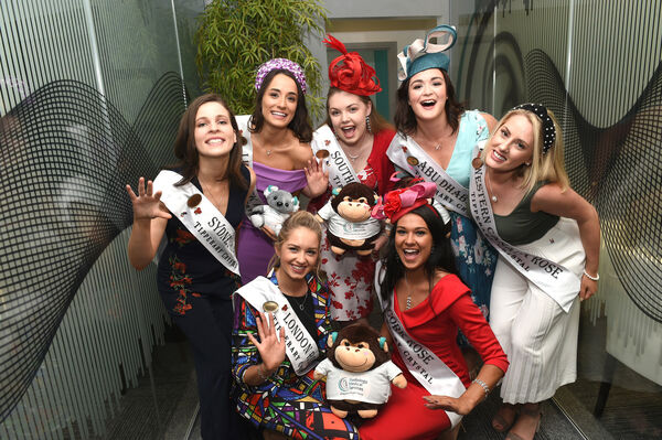 The 2019 Roses with Cork connections....The Cork ROSE Stephanie McCarthy (front right, in red) with other Roses with Cork connections, (front left) London Rose Laura Kennedy, from Glenville, and (rear l to r) Sydney Rose Rebecca Mazza who has relatives from Kanturk; Limerick Rose Sinead Flanagan who studied at UCC; South Australia Rose Simone Hendrick Buchanan who was born in Cork City; Abu Dhabi Rose Karen Cashman from Carrigtwohill, and Western Canada Rose Sarah O'Shea who grew up in Cork. Pic; Larry Cummins