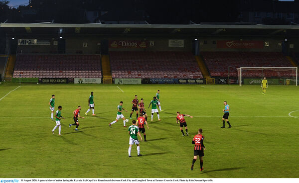 Action at Turner's Cross on Tuesday night. Picture: Eóin Noonan/Sportsfile