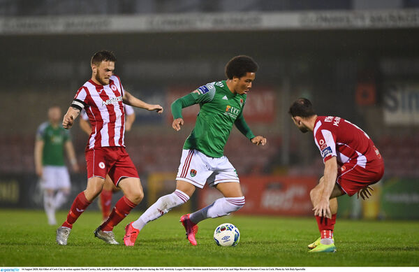 Kit Elliot of Cork City in action against David Cawley, left, and Kyle Callan-McFadden of Sligo Rovers. Picture: Seb Daly/Sportsfile