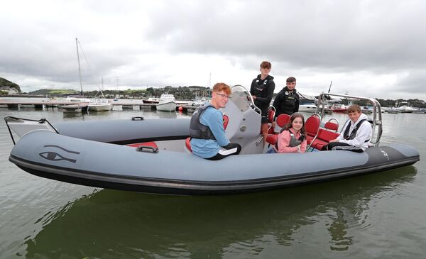 Harry Pritchard, Richard McSweeney (Skipper of the Rib) Kate Horgan, Jamie Venner and Cillian Foster. 5 teens, involved in Fountainstown rescue on 23/08/2020, at the Cork Harbour Marina, Monkstown, Co. Cork.Picture: Jim Coughlan.