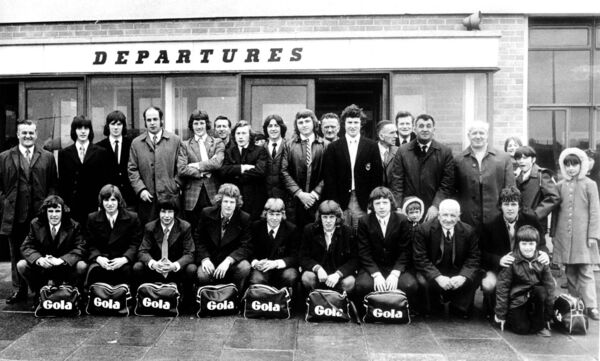 Cork AUL Youths team and officials pictured at Cork Airport prior to departing for International Tournament in Coventry in 1972. Back: Gene Murphy, Dommie Kenny, Alan O'Driscoll, Derry Murphy (Manager), Brendan Hyde, Corny Mulcahy, Tom Hegarty, Joe Lynch, Pat Punch, John Buckley, Leo West, Barry Fitzgerald, Denis Collins, Billy O'Sullivan, John Barnes. Front: Terry Burke, Billy O'Connor, Monty Montgomery, Vincent Marshall, Philip Neiland, Buzz O'Connell, Noel Linnane, John O'Driscoll, Frank O'Neill.