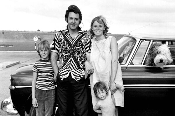 Paul McCartney and Linda McCartney pictured at Cork Airport with children Heather (aged 8) and Mary (4) in 1971.
