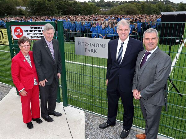 Anne and Garry Fitzsimons with Shane Fitzsimons, VP of GE and Fergal McCarthy, Principal Kinsale Community School, at the opening of Fitzsimons Park in 2017.Picture: Jim Coughlan.