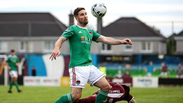 Cork City's Gearoid Morrissey and Donal Higgins of Galway United battle for the ball. Picture:  INPHO/Laszlo Geczo