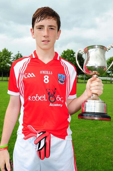 Mark Keane from Mitchelstown captained Cork to lift the Humphrey Kelleher Cup at the Munster U15 Football Tournament.