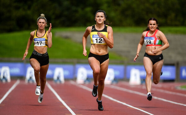Phil Healy competing in the Women's 100m heats, alongside Lucy-May Sleeman of Leevale AC, Cork, left, and Jenna Breen of City of Lisburn AC, Down. Picture: Sam Barnes/Sportsfile