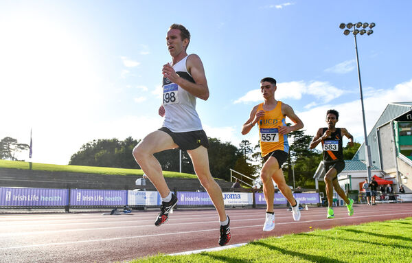 John Travers of Donore Harriers, Dublin, left, leads from, Darragh McElhinney, centre, and Efrem Gidey of Clonliffe Harriers AC, Dublin. Picture: Sam Barnes/Sportsfile