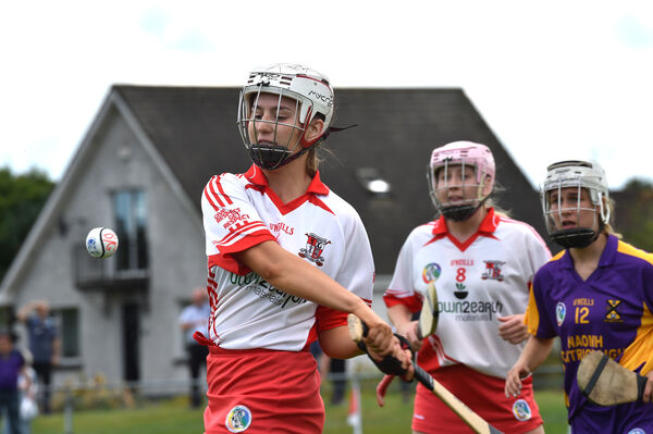 Ballygarvan keeper Sarah Ahern getting this ball away watched by team mate Ellen O'Regan and Aoife Hurley of St. Catherine's during their S E Systems senior camogie championship match at Castle Road, Cork. Picture Dan Linehan