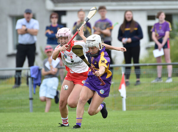 Aoife Hurley, St. Catherine's going past Ballygarvan player Ellen O'Regan during their S E Systems senior camogie championship match at Castle Road, Cork. Picture Dan Linehan