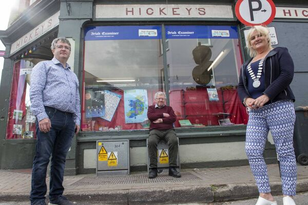 The Mayor of the County of Cork, Cllr. Mary Linehan Foley visited Bandon, Co. Cork after the flooding following Storm Francis. The mayor met with Eric Hickey of Hickey's Newsagents on South Main Street. Hickeys have been newsagents in Bandon for over 100 years. Also included is Cllr. Sean O'Donovan. Pic: Brian Lougheed