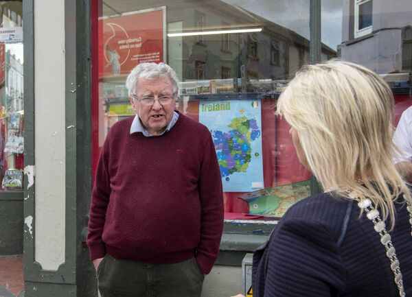 The Mayor of the County of Cork, Cllr. Mary Linehan Foley visited Bandon, Co. Cork after the flooding following Storm Francis. The mayor met with Eric Hickey of Hickey's Newsagents on South Main Street. Hickeys have been newsagents in Bandon for over 100 years. Pic: Brian Lougheed