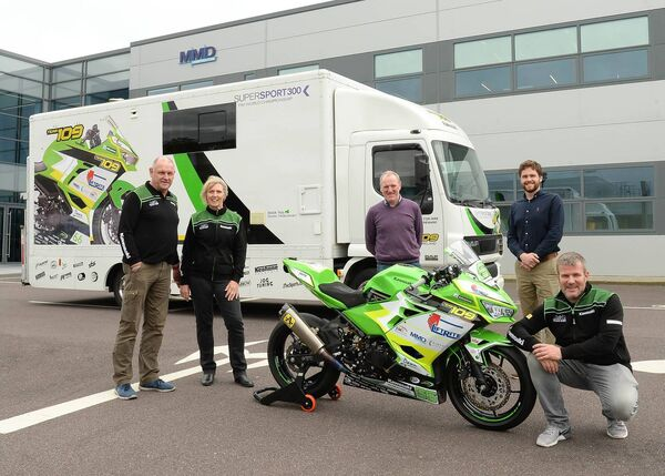 Pictured prior to their departure for Spain for the World Supersport 300 series were (left to right): Dave Hurley (Team 109), Mairead Hurley (Team 109), Kevin O'Leary (MMD), Denis Buckley (MMD) and Paul Tobin (Manager, Team 109). Picture: Martin Walsh
