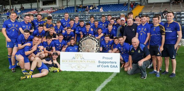 The St Finbarr's team after defeating Cill na Martra in the Rochestown Park Hotel Division 1 football league final, at Pairc Ui Rinn. Picture: David Keane.