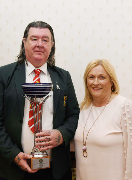John Casey, world international referee, pictured with his wife Lorraine after he was presented with the Cork Boxing Personailty of the Year Award at City Hall.Picture Denis Minihane.