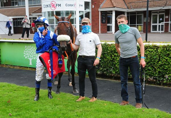 MONAASIB with (L-R) Chris Hayes, Neil Ryan & Dessie Cummins after winning the Mallow Race.Healy Racing Photo.