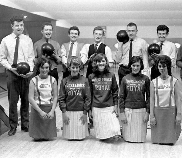LEGEND: The Royal Showband, including singer Brendan Bowyer, back left, publicise 'The Hucklebuck' single at the Bowling Alley in Grand Parade, Cork, in 1965.