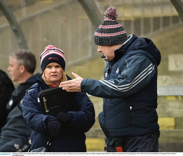 Talking to Ronan McCarthy after a football league game.