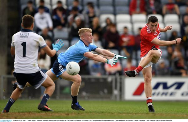 Mark Cronin hits the net in the thrilling Cork U20 win over Dublin.