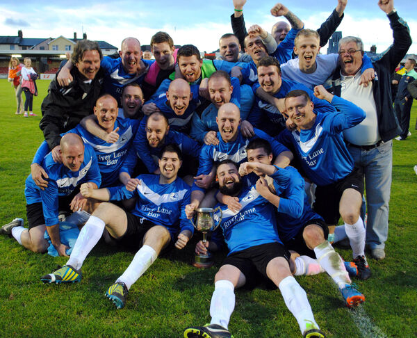 Crescent Athletic celebrate after winning the City Challenge Cup in 2013-14. Picture: Barry Peelo.