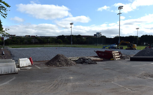 Work is in progress on the new all-weather pitch. Picture: Eddie O'Hare