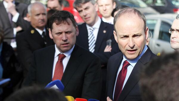 FILE PHOTO Barry Cowen with Fianna Fáil leader Micheal Martin.Pic Collins Photos