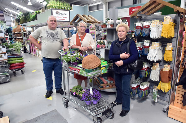 Sean Cotter, Norma Thompson and Nora Cotter at Hanley's garden centre after the re-opening garden centres during the current Covid-19 pandemic Picture: Eddie O'Hare