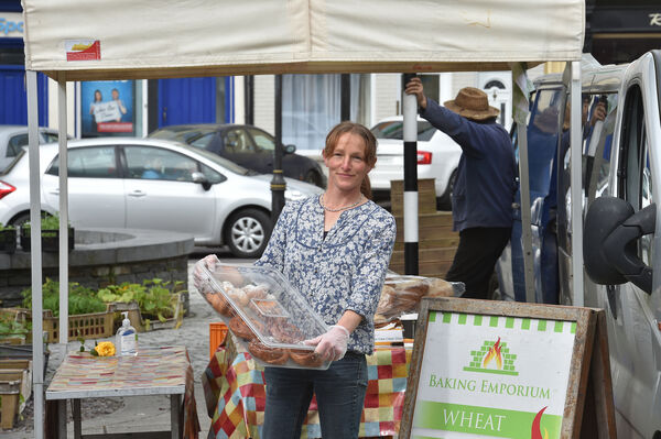 Barbara Dungen of the Baking Emporium setting up her stall at the Farmers Market in Dunmanway, West Cork. Picture Dan Linehan