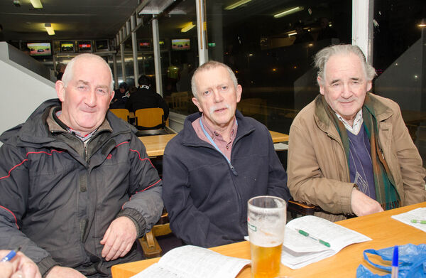 Daniel O'Shea, Dungourney, pictured with John Curtin, Castlemartyr and Sean O'Sullivan from Youghal at the Youghal Greyhound track before Covid 19 brought the sport to a halt. Picture: Howard Crowdy