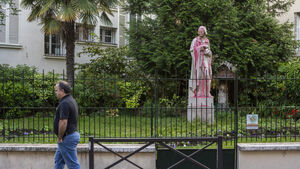 Statues related to France's colonial era daubed in paint