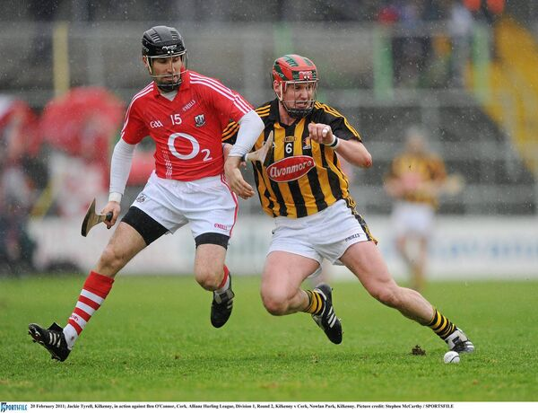 Jackie Tyrell, Kilkenny, in action against Ben O'Connor, Cork, in the 2011 league. Picture: SPORTSFILE