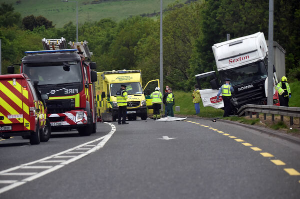 18th May 2020... The scene of the crash between a car and truck at Ovens near BallincolligPicture: Eddie O'Hare