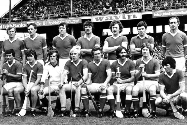 The Cork team that lost to Galway in 1979. Back: Tim Crowley, Ray Cummins, Martin O'Doherty, Jimmy Barry-Murphy, Johnny Crowley, Brian Murphy, Denis Coughlan. Front: Charlie McCarthy, Tom Cashman, Martin Coleman, John Horgan, Pat Moylan, Gerald McCarthy, Dermot MacCurtain, John Fenton.