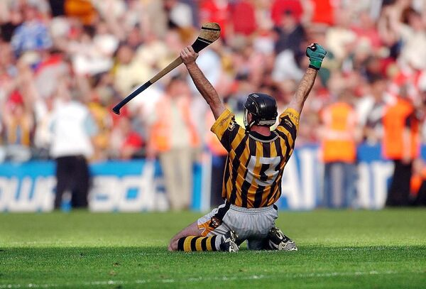 DJ Carey celebrates an All-Ireland victory over Cork.