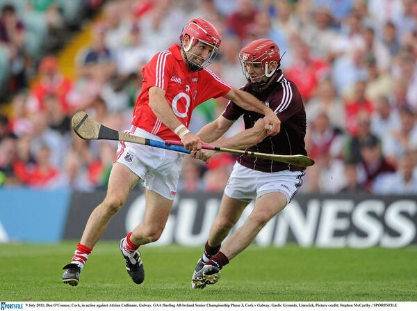 Ben O'Connor, Cork, takes on Adrian Cullinane, Galway, in the 2011 hurling qualifier at the Gaelic Grounds. Picture: Stephen McCarthy/SPORTSFILE