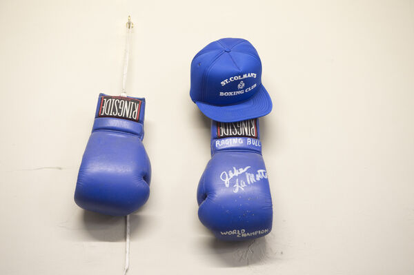 Signed gloves from Jake LaMotta who was nicknamed Raging Bull given to coach Maurice Walsh. Picture: Dan Linehan