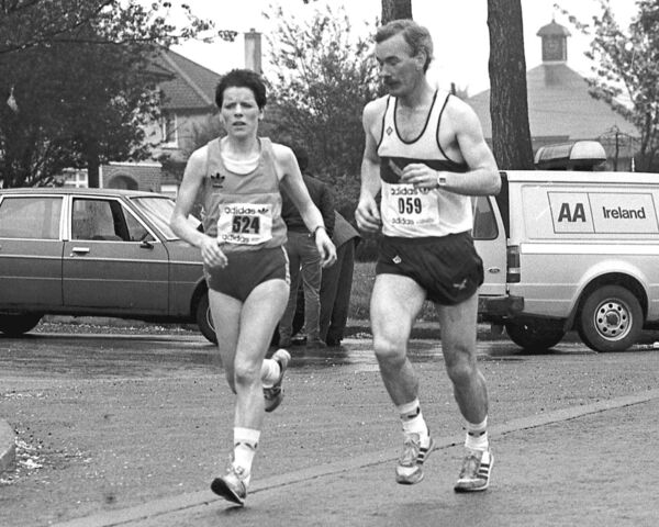 Marion Lyons, the first woman over the line in the 1986 Cork City Marathon.